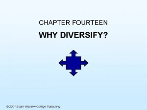 CHAPTER FOURTEEN WHY DIVERSIFY 2001 SouthWestern College Publishing