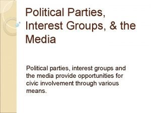 Political Parties Interest Groups the Media Political parties