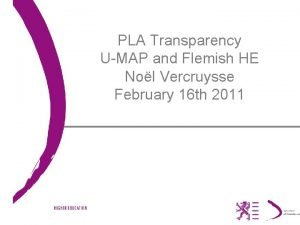 PLA Transparency UMAP and Flemish HE Nol Vercruysse