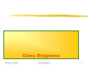 Class Diagrams October 16 2001 Class Diagrams 1