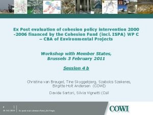 Ex Post evaluation of cohesion policy intervention 2000