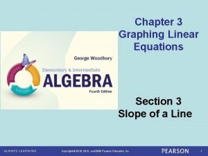 Chapter 3 Graphing Linear Equations Section 3 Slope