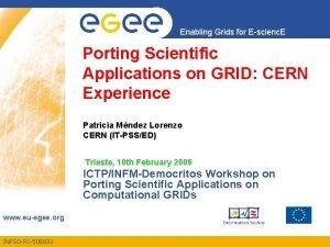 Enabling Grids for Escienc E Porting Scientific Applications