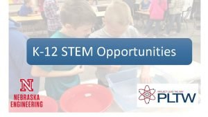 K12 STEM Opportunities PLTW K12 STEM Opportunities Workshop