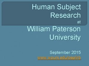 Human Subject Research at William Paterson University September