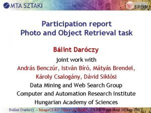 Participation report Photo and Object Retrieval task Blint