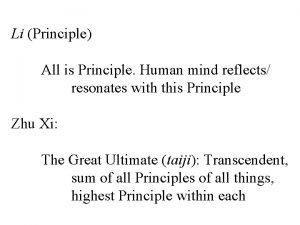 Li Principle All is Principle Human mind reflects