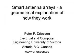 Smart antenna arrays a geometrical explanation of how
