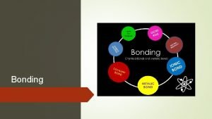 Bonding Bonding Compounds can be divided into two
