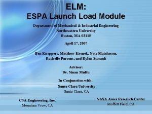 ELM ESPA Launch Load Module Department of Mechanical