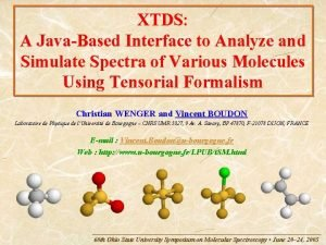 XTDS A JavaBased Interface to Analyze and Simulate