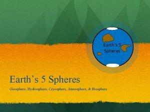 Earths 5 Spheres Geosphere Hydrosphere Cryosphere Atmosphere Biosphere