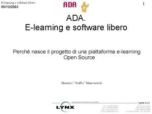 Elearning e software libero 1 05122003 ADA Elearning