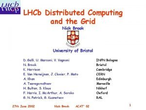 LHCb Distributed Computing and the Grid Nick Brook