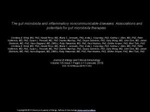 The gut microbiota and inflammatory noncommunicable diseases Associations