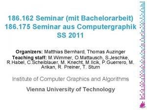 186 162 Seminar mit Bachelorarbeit 186 175 Seminar
