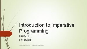 Introduction to Imperative Programming Unit01 FYBSCIT J M