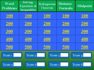 Solving Word Pythagorean Distance Equations Problems Inequalities Theorem