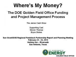 Wheres My Money The DOE Golden Field Office