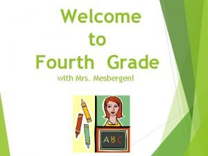 Welcome to Fourth Grade with Mrs Mesbergen Parent