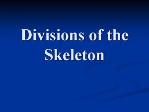 Divisions of the Skeleton Axial Skeleton n Includes