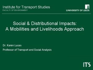 Institute for Transport Studies FACULTY OF ENVIRONMENT Social
