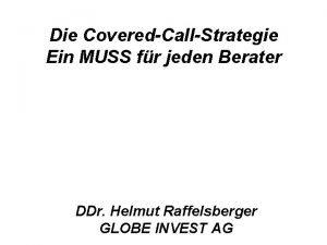 Die CoveredCallStrategie Ein MUSS fr jeden Berater DDr