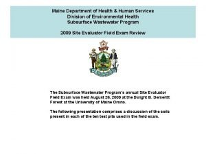 Maine Department of Health Human Services Division of
