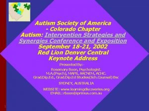 Autism Society of America Colorado Chapter Autism Intervention