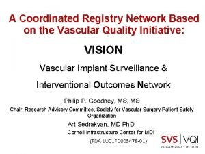A Coordinated Registry Network Based on the Vascular