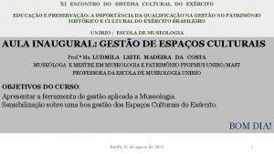 XI ENCONTRO DO SISTEMA CULTURAL DO EXRCITO EDUCAO