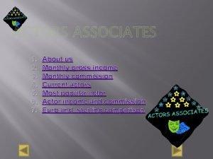 ACTORS ASSOCIATES 1 2 3 4 5 6