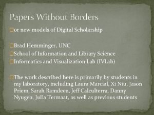 Papers Without Borders or new models of Digital