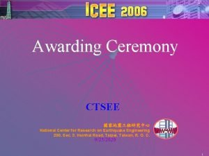 Awarding Ceremony CTSEE National Center for Research on