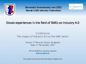 Slovensk ivnostensk zvz SZ Slovak Craft Industry Federation
