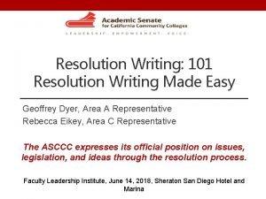 Resolution Writing 101 Resolution Writing Made Easy Geoffrey