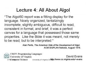 Lecture 4 All About Algol The Algol 60