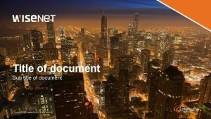 Title of document Sub title of document Author