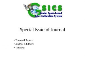 Special Issue of Journal Theme Topics Journal Editors