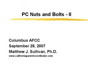 PC Nuts and Bolts II Columbus AFCC September