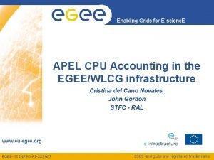 Enabling Grids for Escienc E APEL CPU Accounting