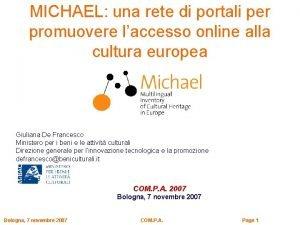 MICHAEL una rete di portali per promuovere laccesso