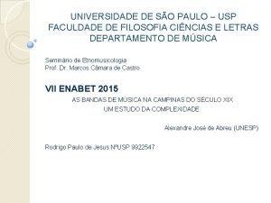 UNIVERSIDADE DE SO PAULO USP FACULDADE DE FILOSOFIA