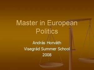 Master in European Politics Andrs Horvth Visegrd Summer