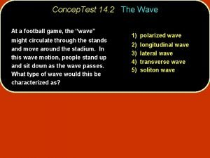 Concep Test 14 2 The Wave At a
