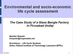 Environmental and socioeconomic life cycle assessment The Case