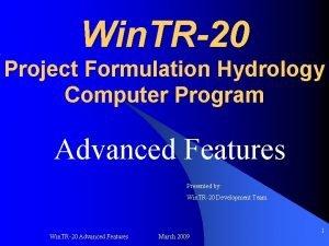 Win TR20 Project Formulation Hydrology Computer Program Advanced