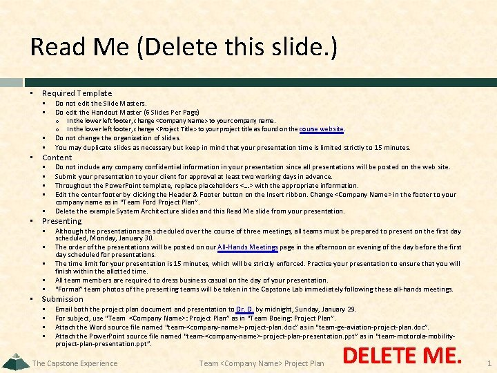 Read Me Delete this slide Required Template Do