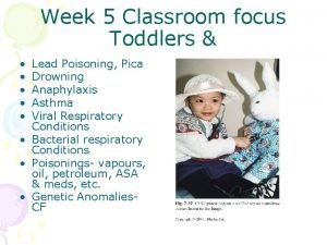 Week 5 Classroom focus Toddlers Lead Poisoning Pica