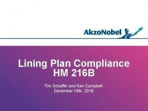 Lining Plan Compliance HM 216 B Tim Schaffer